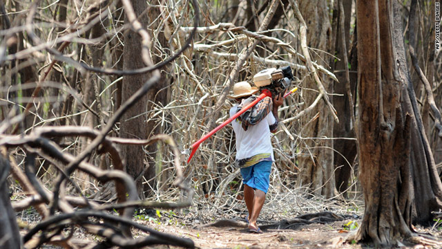 A fisherman carries a boat's engine through parched rain forest on the banks of the Negro river in northern Brazil in 2010.