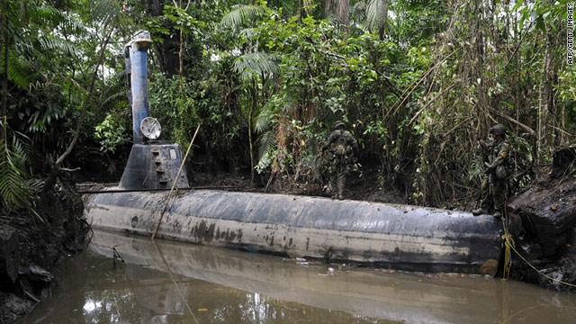 Authorities said that the homemade submarine was ready to be loaded with drugs when found in Timbiqui.