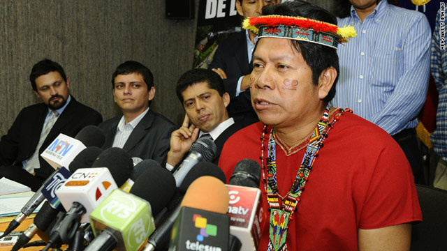 Humberto Piaguaje, an Ecuadorean native and member of the Amazon Defense Coalition, speaks during a news conference in Quito, Ecuador, on Tuesday.