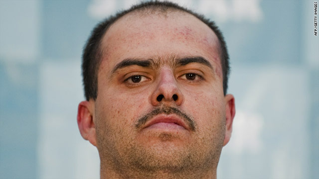 "Sergio Mora Cortes, aka ""El Toto"" accused of the murder of U.S. immigration agent Jaime Zapata, stands at the Mexican Navy headquarters in Mexico City, on Monday."