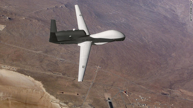 An undated U.S. Air Force handout photo shows a Global Hawk unmanned aerial vehicle during a test flight.