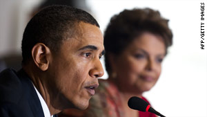 U.S. President Barack Obama and Brazilian President Dilma Vana Rousseff speak at a forum Saturday in Brasilia, Brazil.