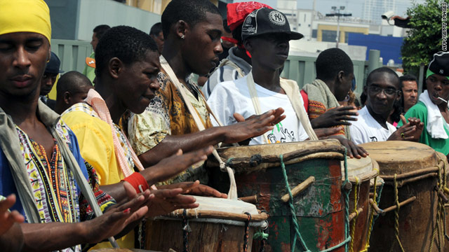 Garifuna people participate in the Drum March in Tegucigalpa, Honduras, on Friday.