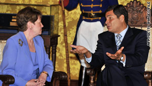 Ecuadorian President Rafael Correa talks with U.S. Ambassador Heather Hodges in Quito in October 2008.