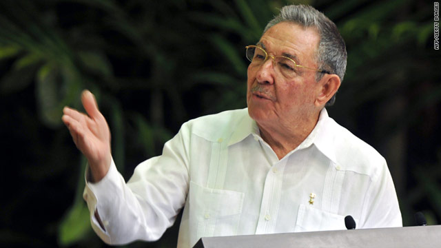Cuban President Raul Castro addresses the Communist Party Congress on Saturday at the Convention Palace in Havana.