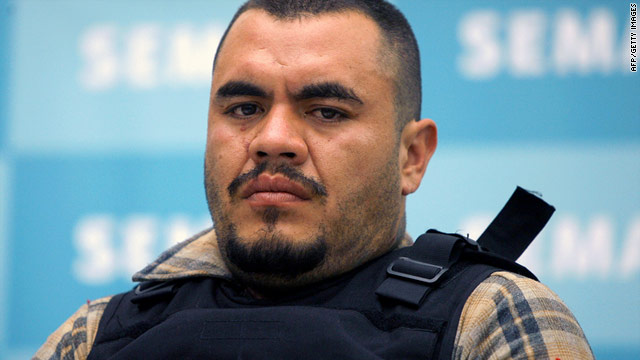 "Omar Estrada Luna, aka ""El Kilo"", of Los Zetas drug cartel, is presented to the press in Mexico City on Sunday, April 17."