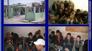 Images of the rescued migrant hostages, provided by the Mexican Public Security Ministry,