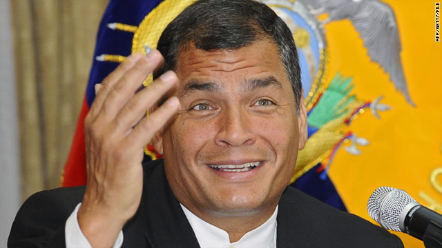 A policeman is on trial for allegedly plotting against President Rafael Correa (pictured) during unrest in Ecuador last year.