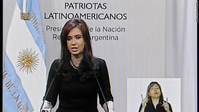 A TV grab shows Argentine President Cristina Fernandez de Kirchner announcing her re-election bid Tuesday.