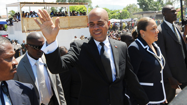 Haitian President Michel Martelly, center,  is struggling to form a government.