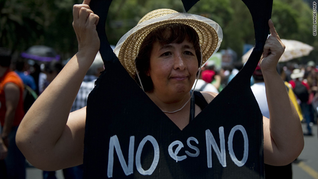 A woman protests during a rally against sexual harassment and violence against women in Mexico City, Mexico, on June 12.