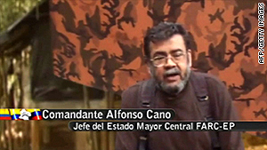 TV grab showing Alfonso Cano giving a message to Colombian President elect Juan Manuel Santos.