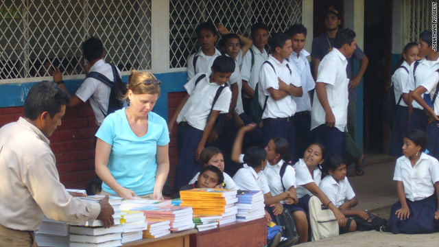Sue Ellen Wortzel delivers textbooks to schoolchildren in Nicaragua.