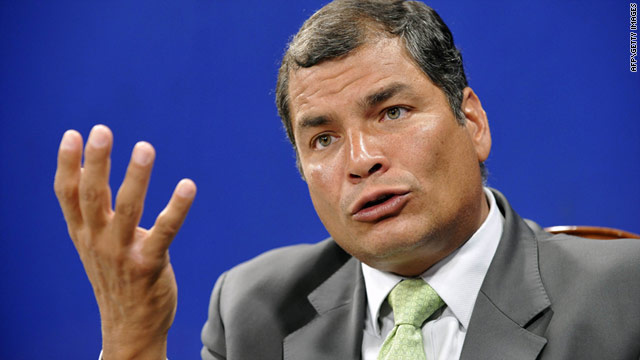 Ecuador's President Rafael Correa speaking to the press following the results of his judicial reform referendum on May 7.