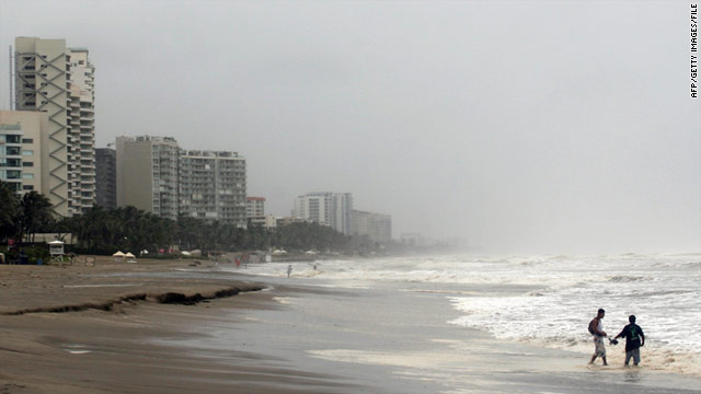 The beach in Acapulco in August 2010. Hurricane Dora was about 235 miles off the coast of Acapulco.