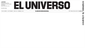 The cover of El Universo as seen Thursday in reaction to a judge's ruling against the paper.