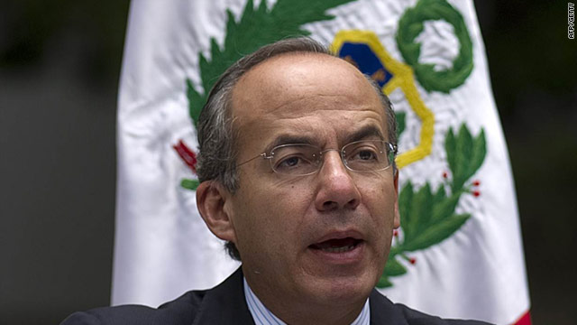 Mexican President Felipe Calderon delivers a speech in Mexico City, July 18, 2011.