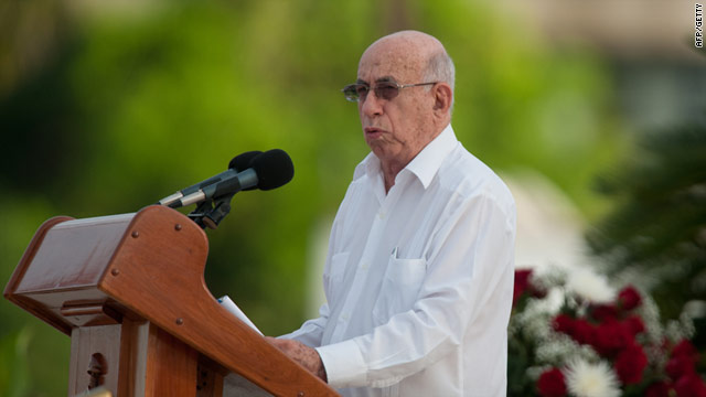 Vice President Jose Ramon Machado Ventura spoke to crowds in the eastern Cuban city of Ciego de Avila.