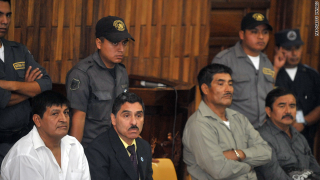 (L to R) Daniel Martinez, Carlos Carias, Manuel Pop and Reyes Collin wait in court during their trial, in Guatemala City, on July 26.