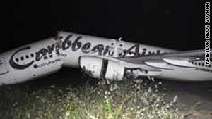 The Boeing 737 was arriving from Port of Spain, Trinidad, Caribbean Airlines said in a statement.