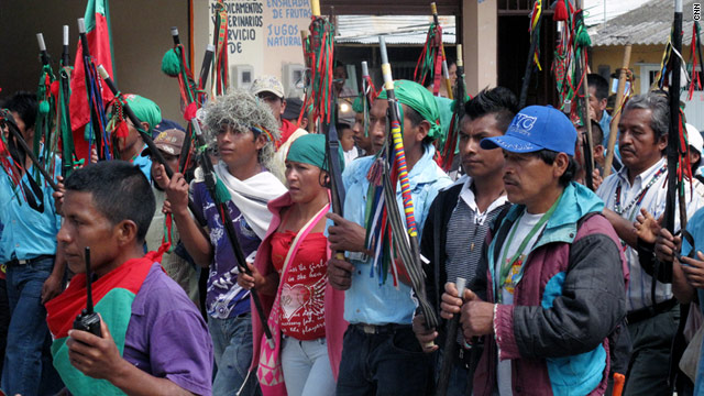 Colombian guards travel to Toribio for a meeting of the Regional Indigenous Council of Cauca to discuss FARC threats.