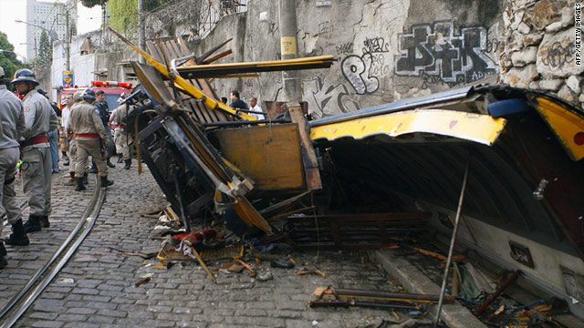 At least four people were killed when a tourist trolley derailed Saturday in Rio de Janeiro, Brazil.
