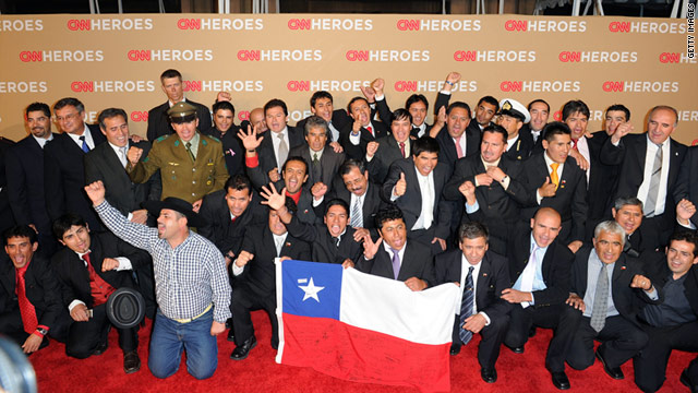 The Chilean miners and rescuers attend the 2010 CNN Heroes tribute in Los Angeles.