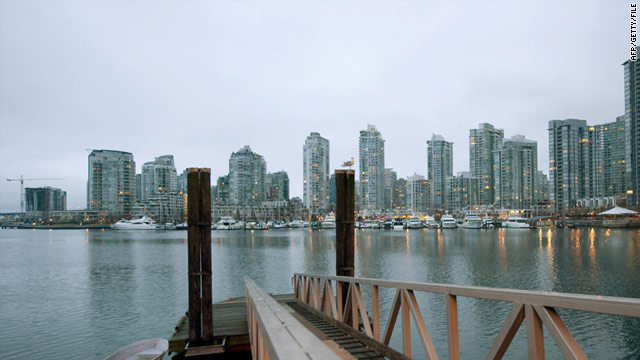 A boy found the foot and leg bone near a marina in an inlet called False Creek, which is pictured here, Vancouver Police said.