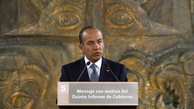 Mexican President Felipe Calderon gives a speech during his fifth annual report in Mexico City, on September 2.