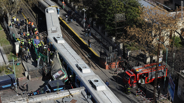 The site of the crash between two passenger trains and a bus in Buenos Aires on September 13.