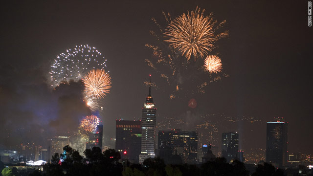 Fireworks light the sky over Mexico City during the independence celebration in September 2010.