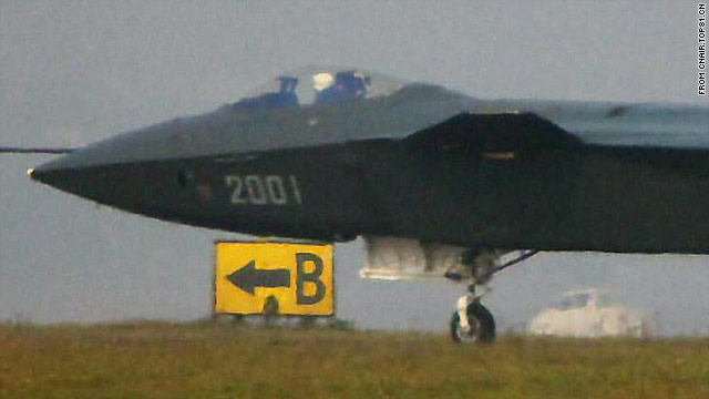 Grainy image shows China's new stealth fighter jet, known as the J-20, undergoing runway tests.