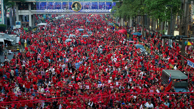 "Thousands of ""Red Shirt"" anti-government protesters rally at Ratchaprasong intersection in Bangkok on Sunday."