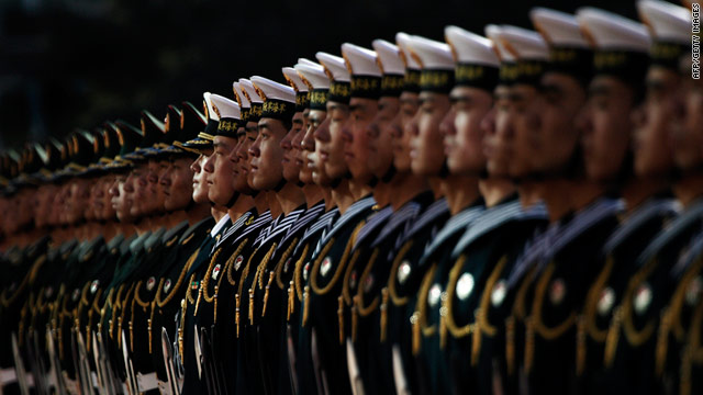 A Chinese honor guard stands to attention during a welcoming ceremony for U.S. Secretary of Defense Robert Gates.