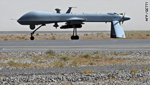 File photograph of a U.S. Predator drone -- four militants were killed by a suspected U.S. drone strike in Pakistan Wednesday.