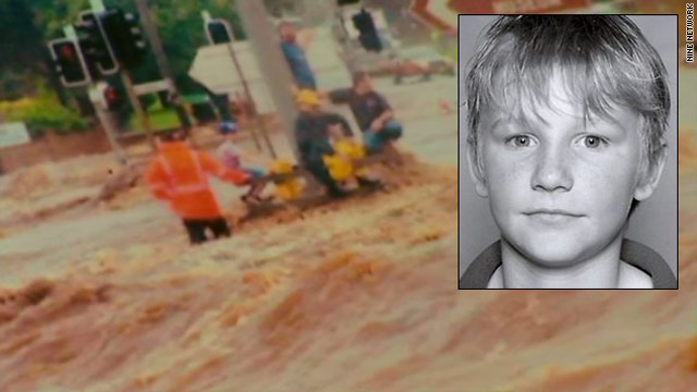 Jordan Rice (inset) was swept to his death when floodwaters surrounded his family's car in Toowoomba.