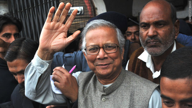 "Nobel laureate Muhammad Yunus, widely known as ""banker to the poor,"" outside of court on January 18."