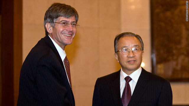 U.S. Deputy Secretary of State James Steinberg is greeted by Chinese State Councilor Dai Bingguo on December 16 in Beijing.