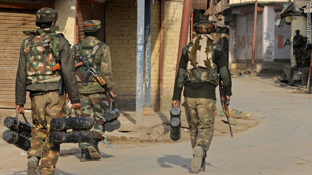 Two teenage girls were killed in Sopore, where the Indian army (pictured) has clashed with Muslim militants for decades.