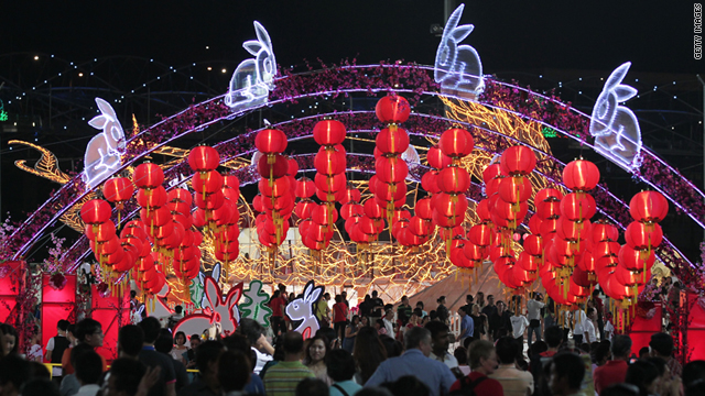 Lanterns adorn the River Hongbao Festival celebrating Chinese New Year's Eve on February 2 in Singapore.