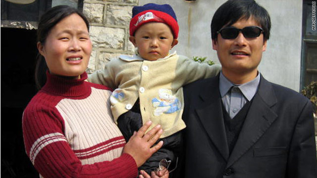 Chen Guangcheng and his wife Yuan Weijin, seen in this 2005 file photo, are reported to have been beaten by authorities.
