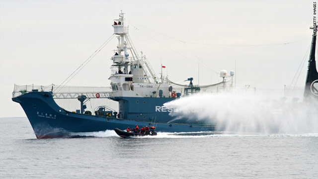 A file image from the Sea Shepherd Conservation Society shows activists tailing a Japanese whaling vessel on Jan. 1, 2011.