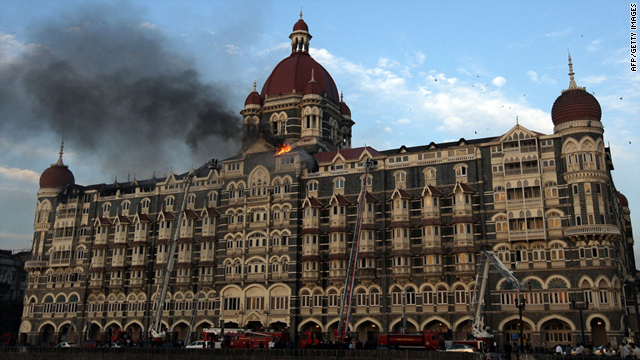 In this picture taken on November 27, 2008, flames rush out of the Taj Mahal Hotel in Mumbai, during the attack in Mumbai.