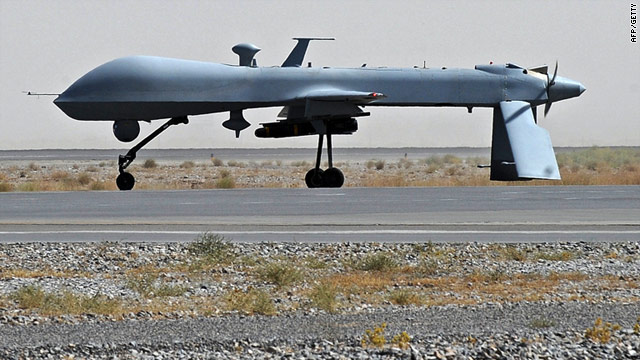 A file photograph of a U.S. Predator drone -- five suspected militants were killed in Pakistan by a drone strike on Thursday.