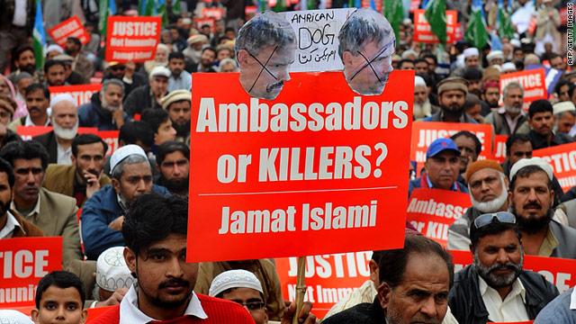 Activists of the Pakistani fundamentalist Islamic party Jamaat-i-Islami protesting against arrested US national Raymond Davis.