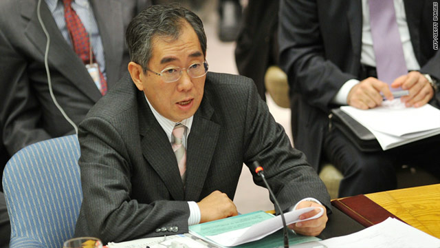 Japan's new Foreign Minister Takeaki Matsumoto in a file picture at the United Nations Security Council on November 16, 2010.