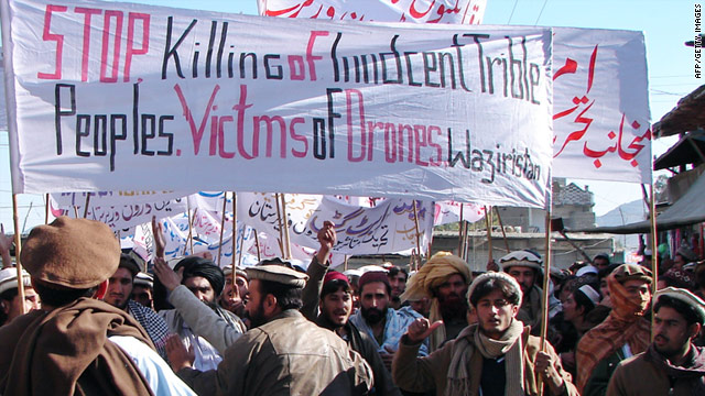 Demonstrators in Miranshah, Pakistan, in January carry a banner condemning drone attacks.