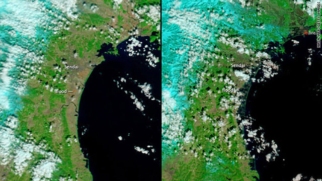 Images released by NASA show Japan's northeast coast before, left, and after flooding from the quake-induced tsunami.