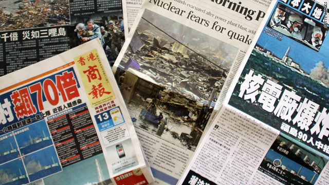 The horrors of Japan continue to dominate the front pages of newspapers across the world