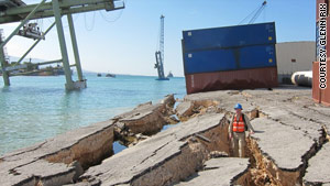 Georgia Tech professor Glenn Rix inspects a quake-destroyed wharf in Port-au-Prince, Haiti, in 2010.